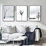 Nordic Black White Minimalist Canvas Painting Landscape Wall Art Dandelion Posters and Prints Pictures for Living Room Decor 50X70Cmx3 Pcs No Frame