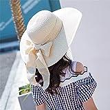 BFQCBFSG Cappello di Paglia per Bambini Donna Estate Spiaggia Cappello da Spiaggia Arco Carino Cappello da Sole Outdoor Travel Cappello da Marina Grande Cappello da Pescatore, Beige B