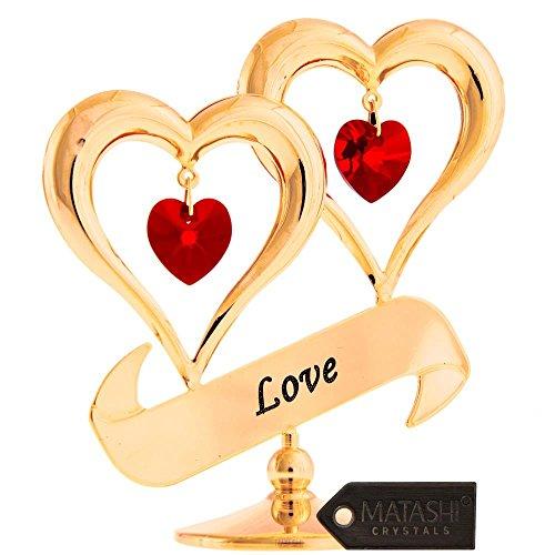 24K Vergoldet Love in Doppel-Herz Ornament mit Kristallen von matashi, Red Crystals -