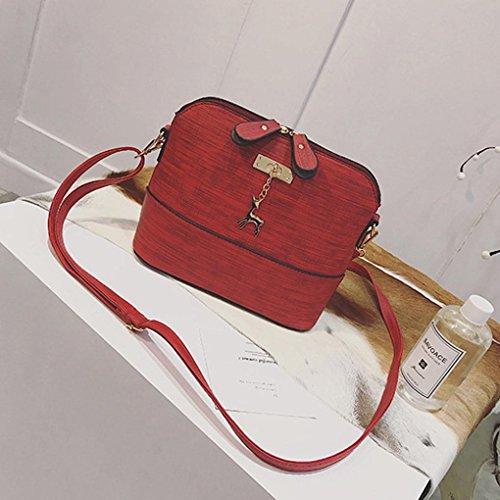 Messenger Vintage geschenk Rot Casual Neue Leder Frau Handtasche Kleine Mädchen Bags Paket Schultertasche Kleine Shell VJGOAL Damen Frauen TXwf1q4