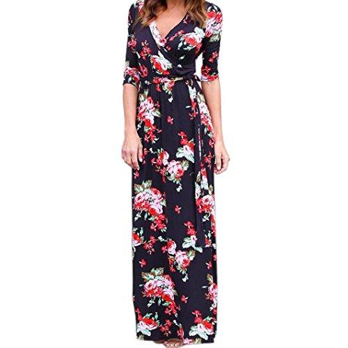 Damen Kleid Bestop Frauen V Hals Boho Lange Maxi 'Nabend Partei Beach Kleid Floral Sommerkleid (M, Schwarz) (Fleece-v-hals-tunika)