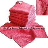 Price-Limit-Shop24 10 Microfaser Tücher Tuch Mikrofaser Poliertücher Universaltuch Nahtlos 320g/m² Rosa