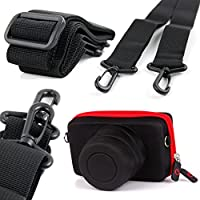 DURAGADGET Exclusive Sony SLR / Bridge Camera Case - Stylish Black & Red Shock Absorbent Protective Shell Case with Elastic Belt Loop for NEW Sony A7R & Sony A6000 + BONUS Premium Quality Non-Slip Camera Neck Strap
