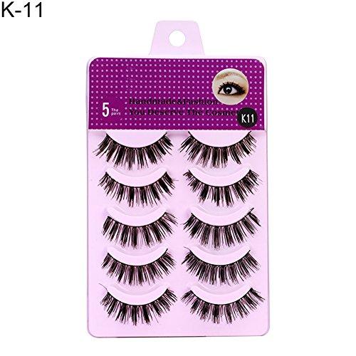 DERKOLY 5 Paar Charming Lange Falsche Wimpern Handgemachte Künstliche Faser Natürliche Dicke Gefälschte Wimpern Verlängerung Frauen Augen Make-Up K-11