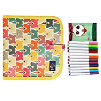 Jeune Lueur Portable Erasable Drawing Pad Reusable Wipe Painting Book Writing Pad Painting Toys for Kids, 14 Pages, 12 Colored Pens