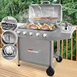 broilmaster Steel BBQ Gas Grill With 5 Burners | Grill Area 70 x 35,5 cm, Lid With Thermometer, Colour: Silver | Barbecue, Grill station, Grill Cart, Garden Grill, Patio Grill