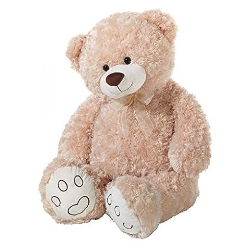 Heunec Bär, Curly-Plüsch, Teddy, Riesenteddy, 100 cm, beige