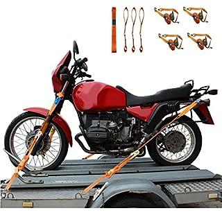 Motorrad Zurrgurt Set 4 Gurtschlaufen Doppelschlaufe + 4 Spanngurte Motorradspanngurt Sicherung
