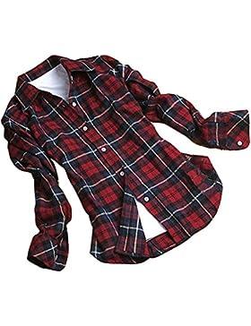 Mine Tom Minetom Mujer Otoño Primavera Patrón De Cuadros Blusa Casual Manga Larga Camisas Botón Tapas