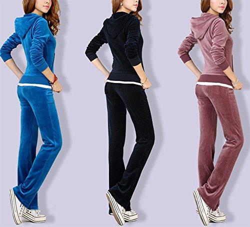 Pantalon de survêtement et de jogging à capuchon en velours pour femmes Pantalon de jogging à tirettes et à glissière pour femmes Sport 2 pièces rose rouge