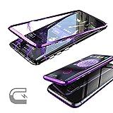QLTYPRI Samsung Galaxy Note 8 Hülle, Magnetische Metall Handyhülle Aluminium Transparent 9H Hartglas Rücken Keine Schutzfolie [Unterstützt Kabellose Aufladen] for Samsung Galaxy Note 8 - Klar Lila