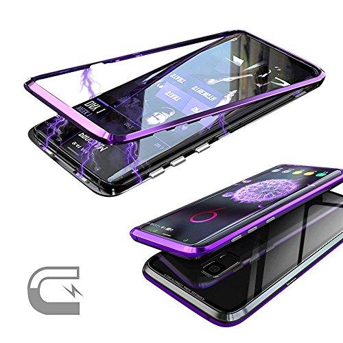 QLTYPRI Samsung Galaxy S9 Hülle, Magnetische Metall Handyhülle Aluminium Transparent 9H Hartglas Rücken Keine Schutzfolie [Unterstützt Kabellose Aufladen] für Samsung Galaxy S9 - Klar Lila