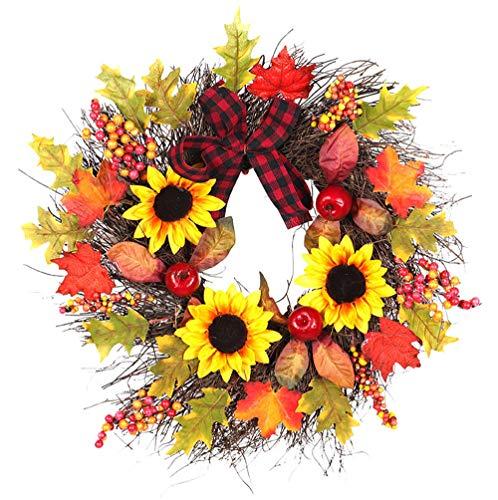 (LANDFOX Sonnenblume Ahornbogen Weihnachtskranz 45cm Sonnenblume Maple Leaf Herbst Tür Kranz Tür Christma Frühlingstür-Kränze künstliche Seidenrose, für Zuhause Küche Hochzeit Feste)