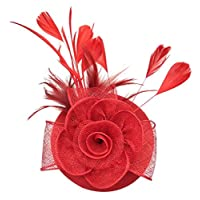Coolwife Fascinators Hat Sinamay Womens Flower Feathers Tea Party Headband Kentucky Derby Headwear (A Red)