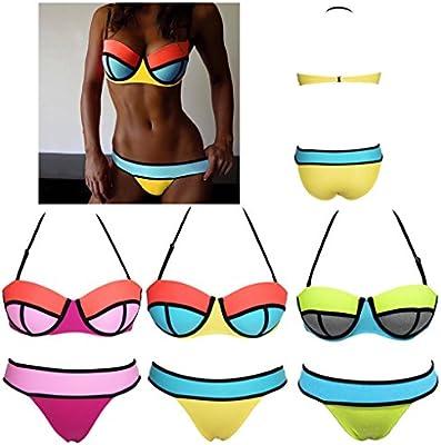 QHGstore Bikinis de neopreno atractivo del traje de ba?o Traje de empuje hacia arriba del bikini conjunto de BKN Mujeres