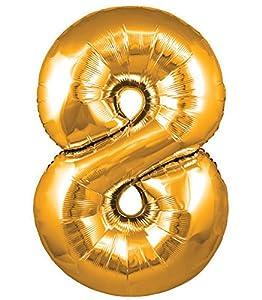Oaktree UK 603189 Globo gigante con número 8, dorado, 30 pulgadas