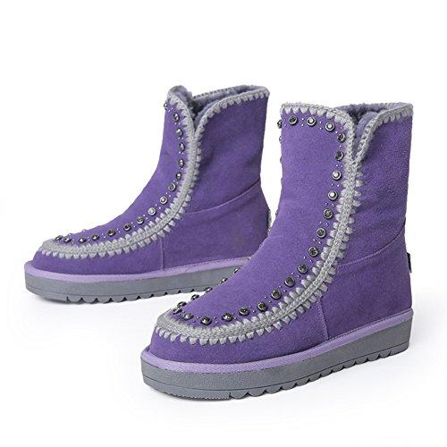 inverno stivali da neve con tubo corto/Stivaletti piatto antiscivolo aumentata del corpo/ scarpe casual-A Lunghezza piede=23.8CM(9.4Inch)