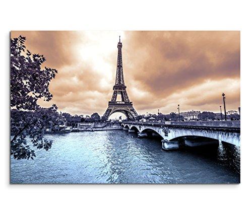 120x80cm Leinwandbild auf Keilrahmen Paris Eiffelturm Seine Brücke Winter Wolken Wandbild auf Leinwand als Panorama