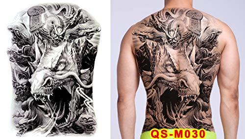 tzxdbh 2Pcs-Full Back Tattoo Aufkleber Guan Gong Zhao Yun Tintenfisch Erlang Gott Super Full Back wasserdichte dauerhafte Tätowierung Blau Arm Totem 2Pcs- 48x35cm -