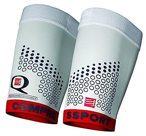 Compressport For Quad Trail Manchon de compression Blanc/Rouge FR : S (Taille Fabricant : T1)