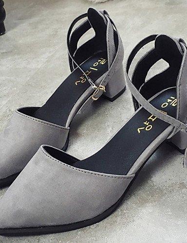 UWSZZ IL Sandali eleganti comfort Scarpe Donna-Sandali / Scarpe col tacco-Ufficio e lavoro / Formale / Casual / Serata e festa-A punta-Quadrato-Di pelle-Nero / Grigio gray