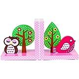 en bois de qualité Hibou Rose & Bird Serre-livres par Tinkie Toys