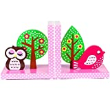 In legno di qualità rosa Owl & Bird Bookends by Tinkie Toys
