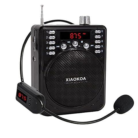 Xiaokoa Amplificateur vocal avec micro casque sans fil Bluetooth Haut-parleur radio FM N37A-Black