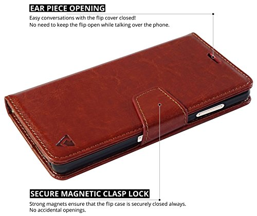 Ceego Luxuria Wallet Flip Cover for Gionee S6s – [Ultra Compact with Credit Card Slots & Wallet] – Classic Business Style Gionee S6 S Flip Case (Walnut Brown)