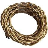 Tibelec 073930 - Cable eléctrico textil trenzado 3 V 300 x 04 x 04 cm color dorado