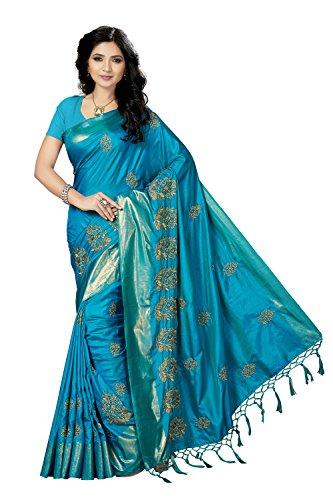 Rani Saahiba Art Silk Embroidered Saree ( SKR3634_Turquoise )