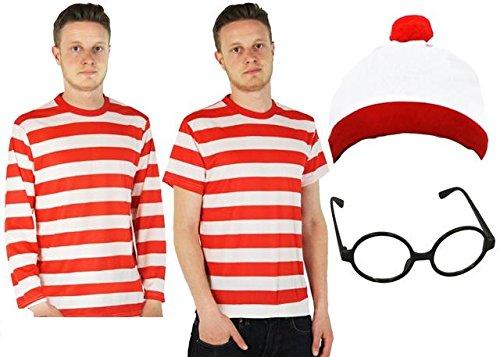 Kostüm Shirt Waldo - ROT/WEISS=T-SHIRT =KURZEN ÄRMELN+LANGEN ÄRMELN=DAS PERFEKTE ZUBEHÖR FÜR FILM-BUCHWOCHEN KOSTÜM VERKLEIDUNG+FASCHING-KARNEVAL=VERSCHIEDENEN VARIATIONEN= POLYESTER/LANGE ÄRMEL+BRILLE+ MÜTZE=MEDIUM
