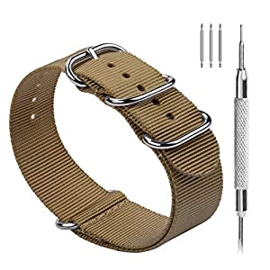 Fullmosa Nylon Uhrenarmband 18/20/22/24mm in 10 Farben, Zulu Serie Ersatzband mit verstellbarem Edelstahl Metall Schließe für Herren&Damen