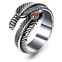 Vintage Punk Crystals Rings Fashion Titanium Steel Ring For Men