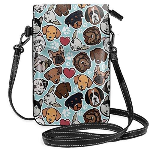 Jiger Women Small Cell Phone Purse Crossbody,Canine Breeds Bulldog Chihuahua Siberians And Retriever Love Heart Paw Prints -