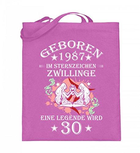 Hochwertiger Jutebeutel (mit langen Henkeln) - Ein Zwilling wird 30 Pink