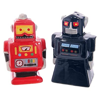 Puckator ROBO03 Retro Robot Salt Shaker and Pepper Shaker Set, 4 x 5 x 8 cm