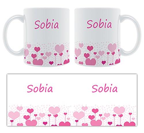 sobia – Motif cœurs – Femelle Nom personnalisable Mug en céramique