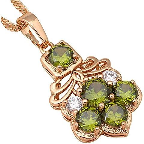 Bling fashion Luxury nacklace per donna deliate regalo gioielli alla moda cristallo verde peridoto placcato oro giallo 18K collane ciondoli