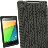 igadgitz U2612 Pneu Étui Silicone Compatible Avec Asus Google Nexus 7 2013 2ème Génération Android 4.3 Tablet 16GB 32GB et Protecteur d'écran - Noir