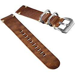 ZULUDIVER® Genuine Leather Watch Strap 2 Piece ZULU Tan Brown 20mm
