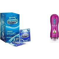 Durex Jeans Preservativi Comfort Lubrificati, 27 Profilattici & Massage 2 In 1 Sensual Lubrificante Intimo E Gel…