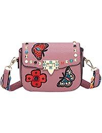 09477041764c1 Damen Handtasche Rosa mit Patch Stickerei Umhängetasche Boho Strap