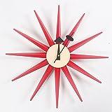 HHYS H663 Sonnendurchbruch Hölzern Rot Wanduhr Mitte des Jahrhunderts Handarbeit Antiquität Retro Dänisch Nelson-Stil