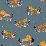 Dashwood Safari Stoff - DASH278 Löwen Tigers Blaugrün -