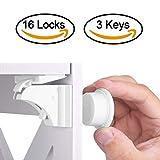 HURRISE Unsichtbare Kindersicherheit Schlösser mit Magnetische für Schubladen Schranktüren ohne Schrauben (16 Schlösser & 3 Schlüssel)