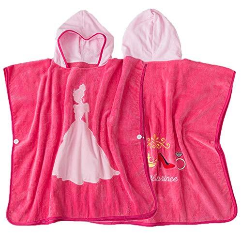 Accappatoio per bambini, Principessa rosa Accappatoio in cotone biologico Bambini Bambini Bebè Costume da bagno Costumi da bagno Asciugamano da spiaggia Bagno Accappatoio da bagno con cappuccio per un