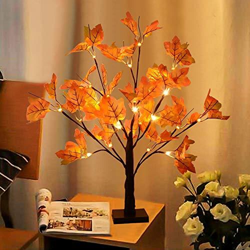 INHDBOX LED Baum Licht,50CM 24 LED Ahornblatt Baum Licht Batteriebetrieben LED Tischplatte Licht Weihnachtsdeko für Thanksgiving, Weihnachten, Innen Deko (Warm Weiß/50cm)