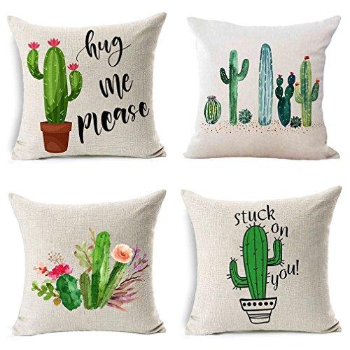 nbezüge, für Halloween, dekorative Herbst-Kissenbezüge, 4 Stück, Baumwollmischung, 45,7 x 45,7 cm Cactus ()