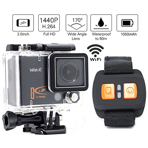 1+ 1® Ultra HD Action Kamera 4K10@ FPS 1440p30@ FPS 1080P 60fps WiFi 5,1cm 170° A + Handgelenk Fernbedienung Wasserdichte Action Sport-Kamera KFZ Recorder DVR Kamera Helm Kamera HDMI-Ausgang